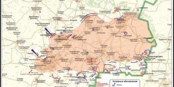 Мапа антытэрарыстычнай аперацыі на усходзе Украіны па стану на першую палову дня 25 ліпеня 2014