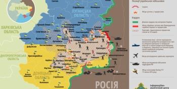 Мапа антытэрарыстычнай аперацыі на усходзе Украіны па стану на першую палову дня 1 жніўня 2014