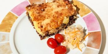 Запеканка с картофелем хашбраун, фаршем и сыром